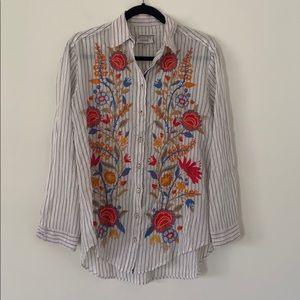 Johnny Was Embroidered Button Down
